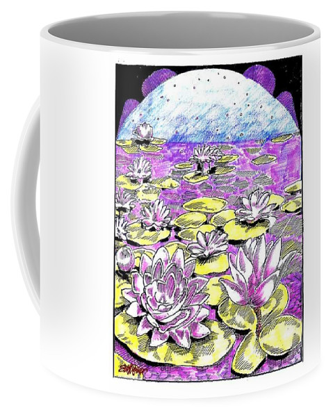 Lilies Of The Lake Coffee Mug featuring the drawing Lilies Of The Lake by Seth Weaver