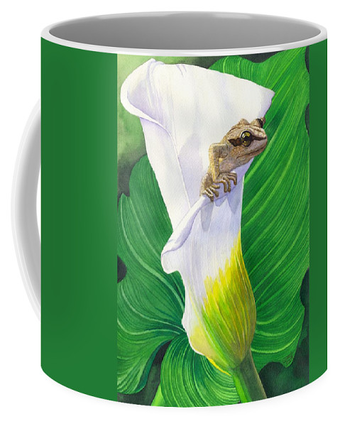 Frog Coffee Mug featuring the painting Lily Dipping by Catherine G McElroy