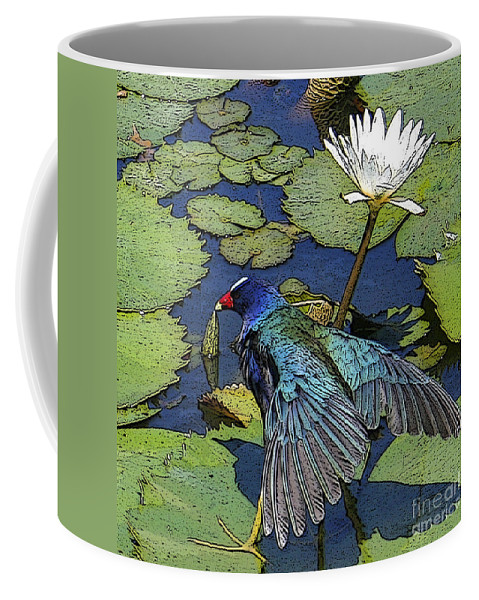 #lily #exoticbird #puntacana #dominicanrepublic #nature Coffee Mug featuring the digital art Lily Pad With Bird by Jacquelinemari