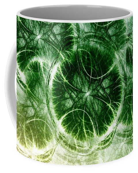 Lilypad - Fractal Coffee Mug featuring the digital art Lilypad - Fractal by Maria Urso