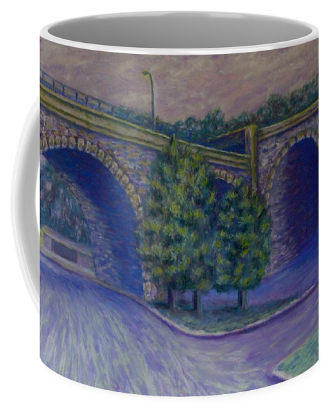 Pastel Coffee Mug featuring the pastel Lincoln Ave Bridge Pittsburgh by Joann Renner