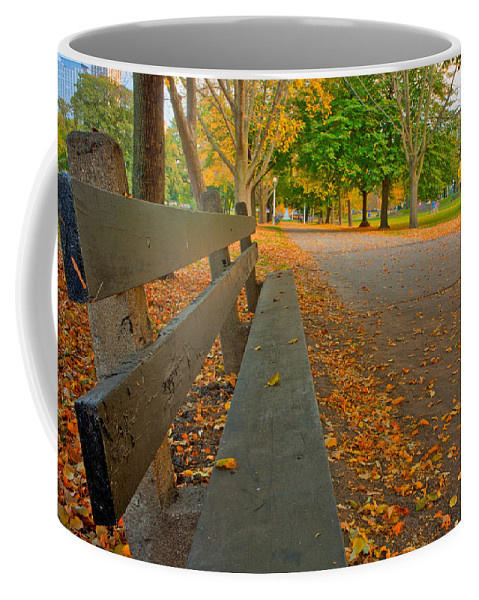 Fall Coffee Mug featuring the photograph Lincoln Park Bench In Fall by Anthony Doudt