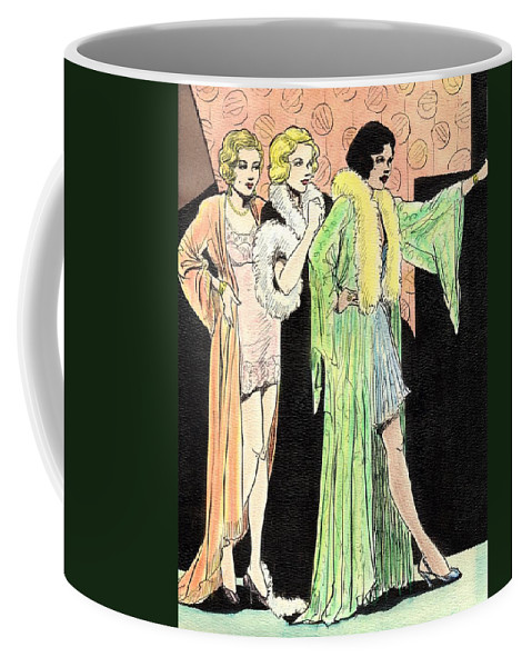 Nostalgia Coffee Mug featuring the painting Lingerie Ladies by Mel Thompson