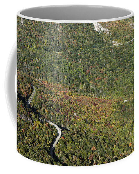 Grandfather Mountain Coffee Mug featuring the photograph Linn Cove Viaduct And Grandfather Mountain Along The Blue Ridge Parkway by David Oppenheimer