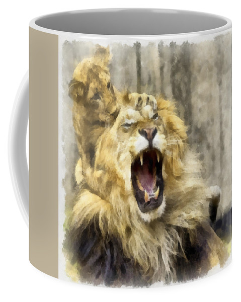 Aquarell Coffee Mug featuring the photograph Lion 15 by Ingrid Smith-Johnsen