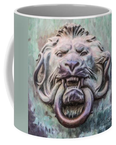 Door Knocker Coffee Mug featuring the digital art Lion And Snake by Liz Leyden