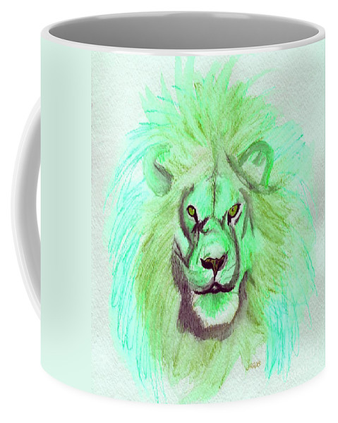 Lion Coffee Mug featuring the painting Lion Blue By Jrr by First Star Art