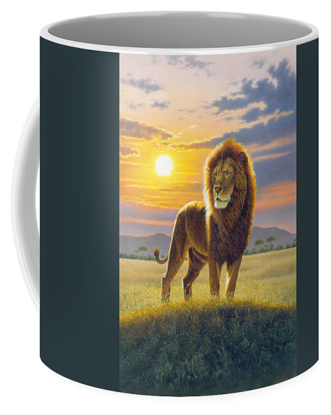 Animal Coffee Mug featuring the photograph Lion by MGL Meiklejohn Graphics Licensing