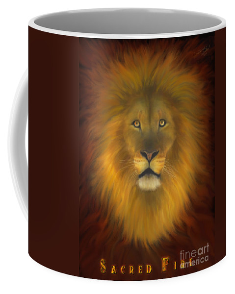 Lion Coffee Mug featuring the digital art Sacred Fire by Constance Woods