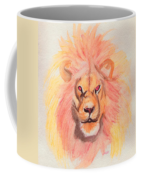Lion Coffee Mug featuring the painting Lion Orange by First Star Art