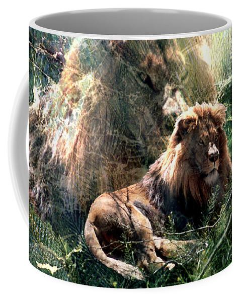 Lion Coffee Mug featuring the digital art Lion Spirit by Lisa Yount