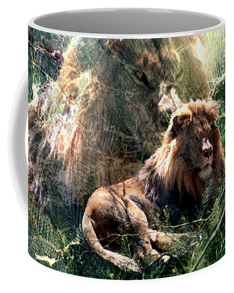 Lion Coffee Mug featuring the digital art Lion Spirit by Lisa Yount