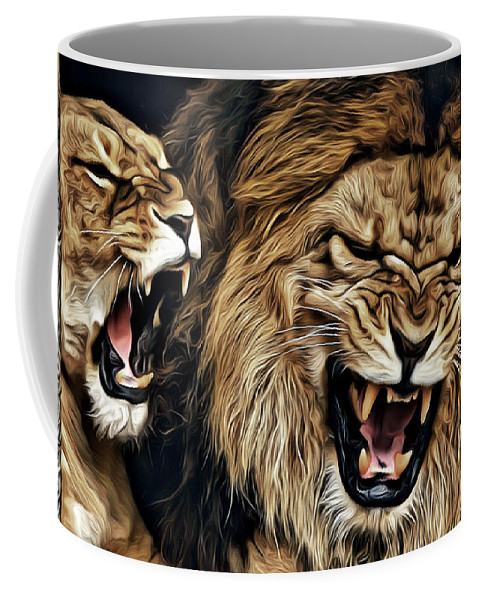 Lions Coffee Mug featuring the photograph Lions by Carlos Diaz