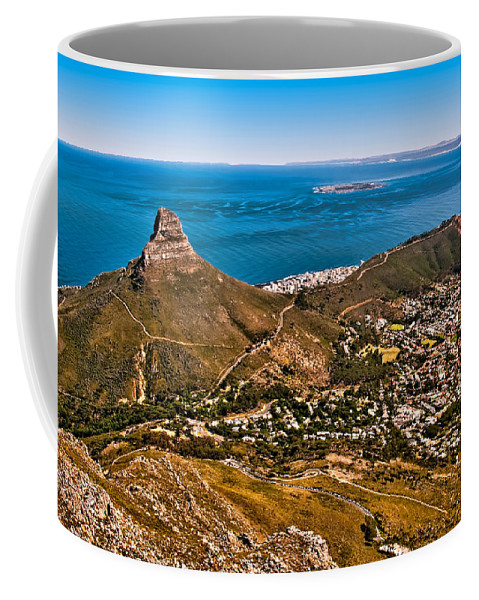 Africa Coffee Mug featuring the photograph Lion's Head by Maria Coulson