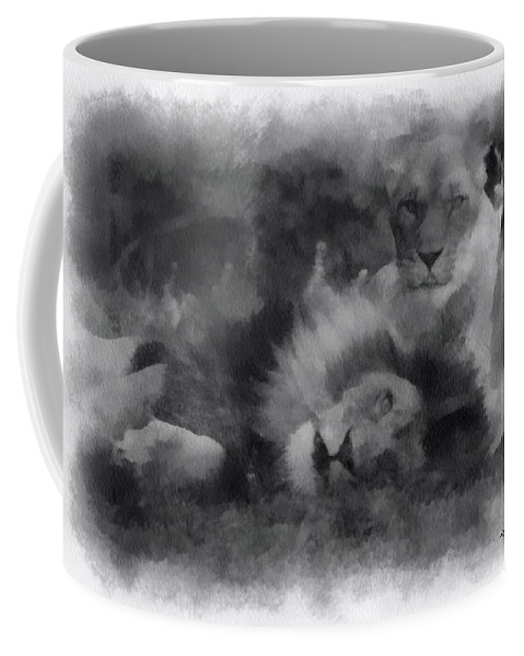 Wildlife Coffee Mug featuring the photograph Lions Photo Art 01 by Thomas Woolworth