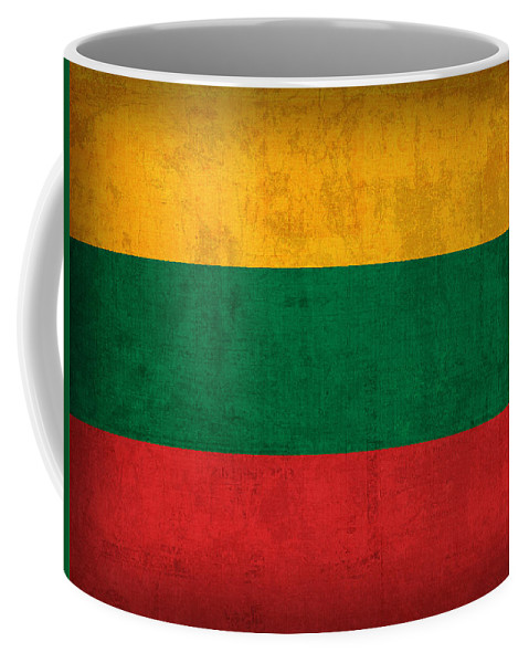 Lithuania Coffee Mug featuring the mixed media Lithuania Flag Vintage Distressed Finish by Design Turnpike