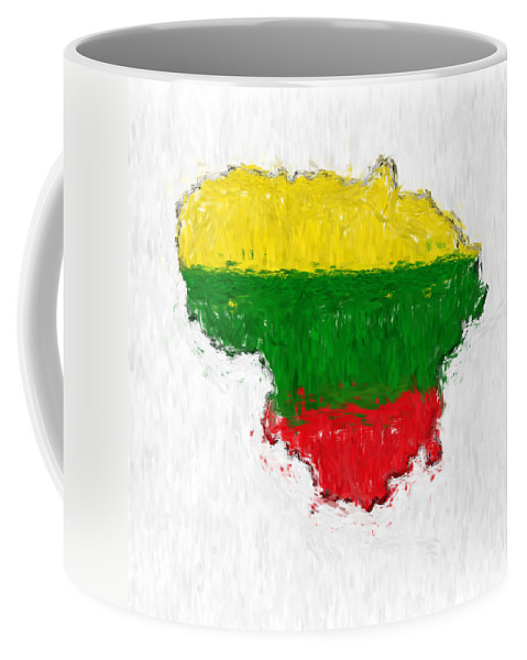 Lithuania Coffee Mug featuring the photograph Lithuania Painted Flag Map by Antony McAulay