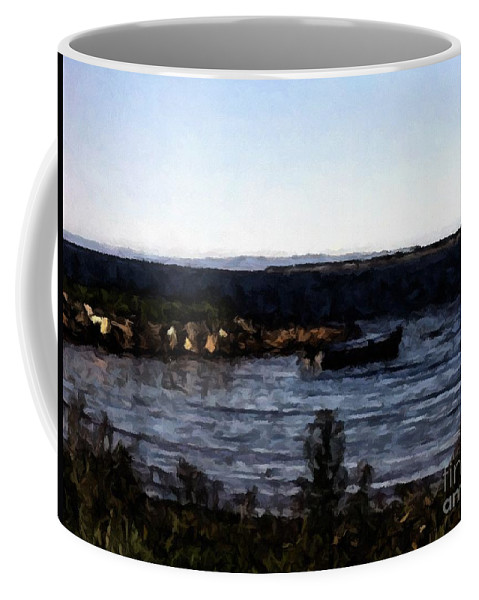 Little Black Boat Abstraction Coffee Mug featuring the photograph Little Black Boat Abstraction by Barbara Griffin
