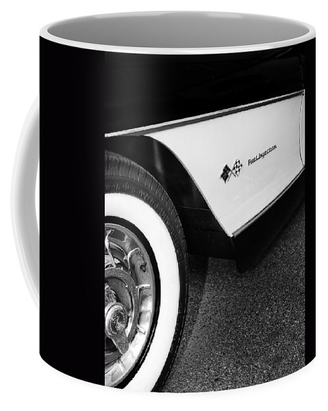 Car Auction Coffee Mug featuring the photograph LITTLE BLACK CORVETTE Palm Springs by William Dey