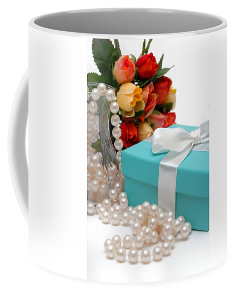 Anniversary Coffee Mug featuring the photograph Little Blue Gift Box With Pearls And Flowers by Amy Cicconi