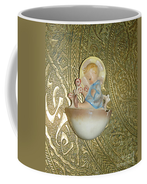Baby Coffee Mug featuring the photograph Newborn Boy In The Baptismal Font Sculpture by Eva-Maria Di Bella