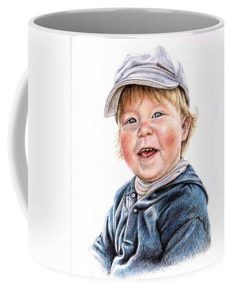 Boy Coffee Mug featuring the drawing Little Boy by Nicole Zeug
