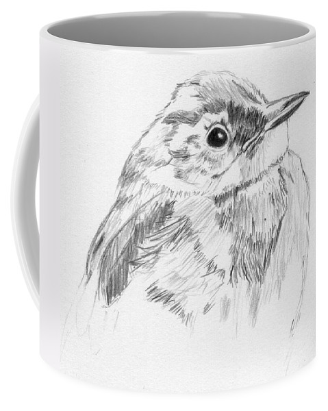 Bird Coffee Mug featuring the drawing Little Buddy by Crystal Hubbard