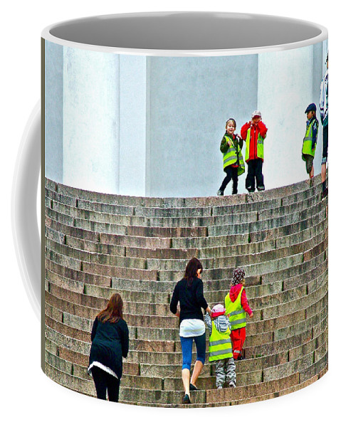 Little Children Climbing Steps Of Lutheran Cathedral Of Helsinki Coffee Mug featuring the photograph Little Children Climbing Steps Of Lutheran Cathedral Of Helsinki-finland by Ruth Hager