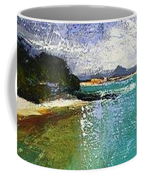 Landscape Coffee Mug featuring the painting Little Cove Noosa Heads Abstract Palette Knife Seascape Painting by Chris Hobel
