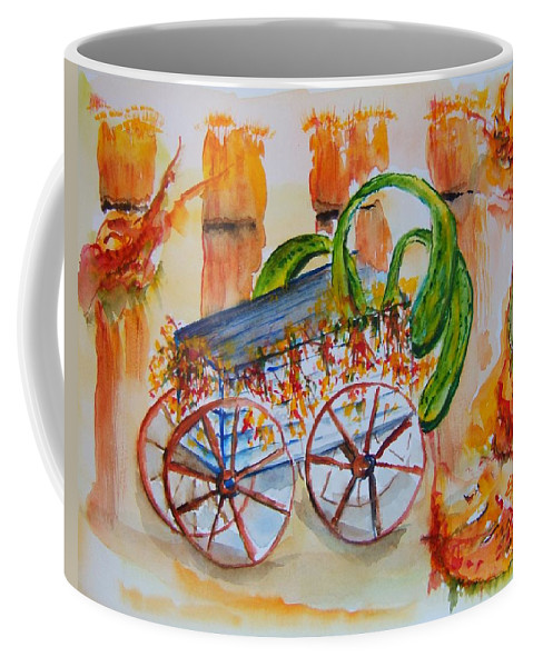 Harvest Coffee Mug featuring the painting Little Harvest Wagon by Elaine Duras