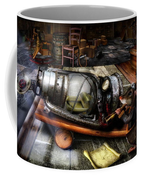 Short Stories Coffee Mug featuring the digital art Little Mouse And The Moon by Alessandro Della Pietra
