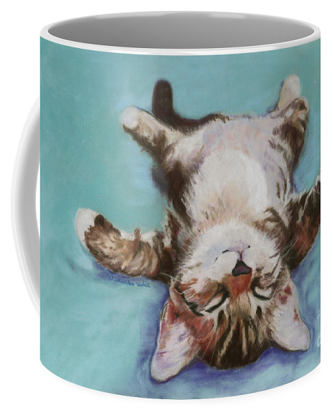 Cat Painting Coffee Mug featuring the pastel Little Napper by Pat Saunders-White