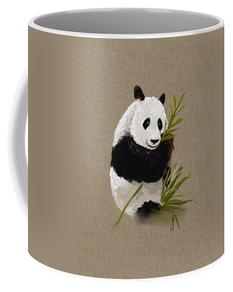 Panda Coffee Mug featuring the painting Little Panda by Veronica Minozzi