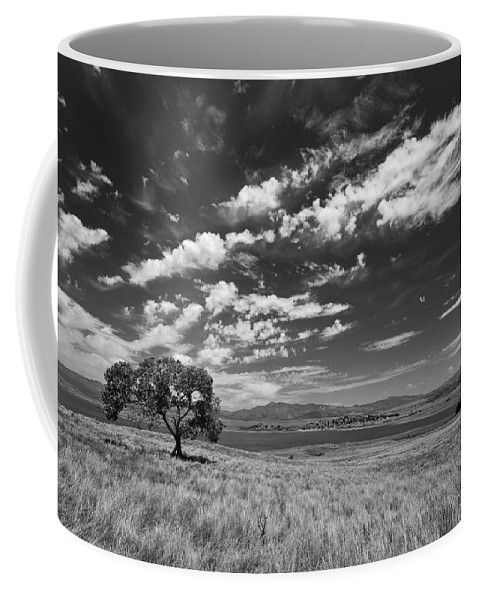 Big Sky Coffee Mug featuring the photograph Little Prarie Big Sky - Black And White by Peter Tellone