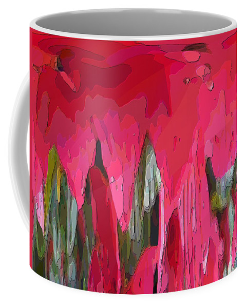 Abstract Coffee Mug featuring the digital art Little Red by Tim Allen