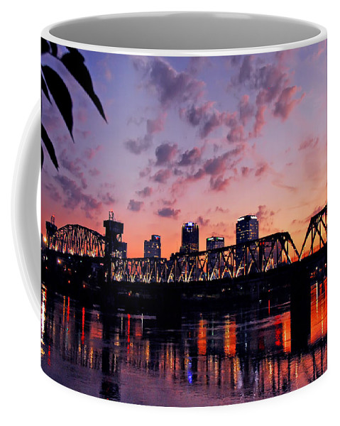 Little Rock Coffee Mug featuring the photograph Little Rock Bridge Sunset by Mitchell R Grosky