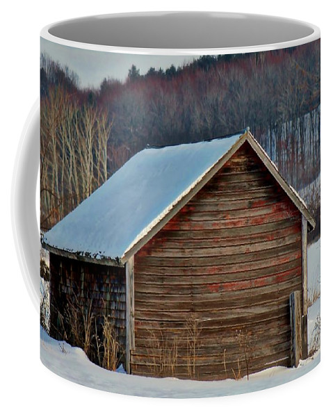 Old Shed Coffee Mug featuring the photograph Little Shed In The Valley by Lowell Stevens