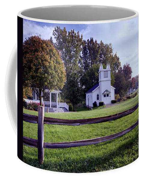 Immanuel Lutheran Church Coffee Mug featuring the photograph Little Village Chapel Of The Immanuel Lutheran Church by Paul Cannon