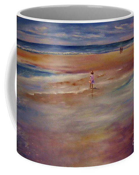 Child Coffee Mug featuring the painting Little Wanderer by Sandy Ryan
