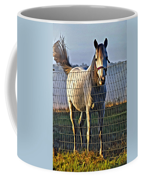 Horse Coffee Mug featuring the photograph Little White Pony by Alice Gipson