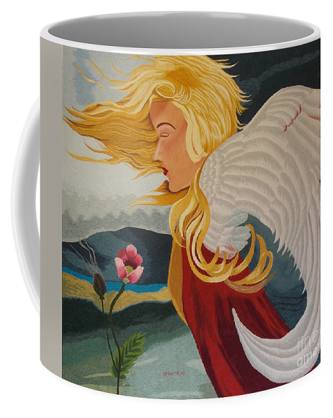 Abstract Coffee Mug featuring the tapestry - textile Little Wings Hand Embroidery by To-Tam Gerwe