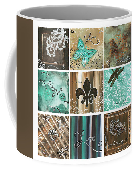 Abstract Coffee Mug featuring the painting Live And Love By Madart by Megan Duncanson