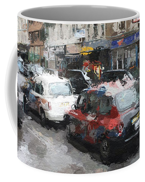 Liverpool Station London Cab Taxi Color Colorful Street Urban City Shop Expressionism Coffee Mug featuring the painting Liverpool Station London by Steve K