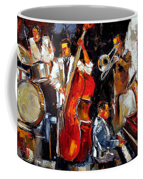 Jazz Coffee Mug featuring the painting Living Jazz by Debra Hurd