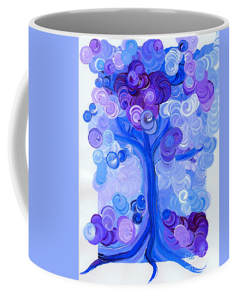 First Star Coffee Mug featuring the painting Liz Dixon's Tree Blue by First Star Art