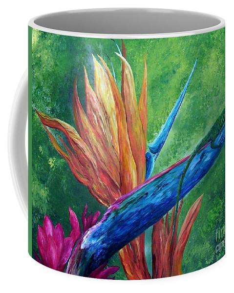Lizard Coffee Mug featuring the painting Lizard On Bird Of Paradise by Eloise Schneider