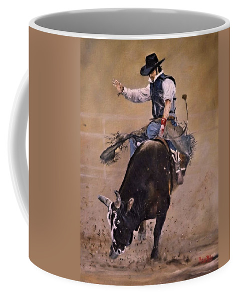 Western Coffee Mug featuring the painting Load Of Bull by Barry BLAKE