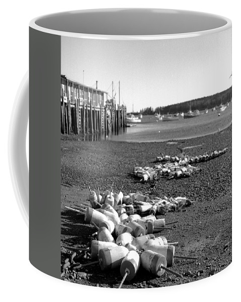 Black And White Coffee Mug featuring the photograph Lobster Buoys 13 by Timothy Bischoff