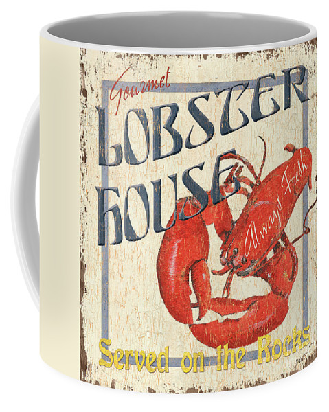 Lobster Coffee Mug featuring the painting Lobster House by Debbie DeWitt