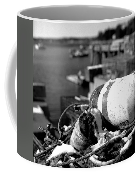 Black And White Coffee Mug featuring the photograph Lobster Traps 07 by Timothy Bischoff
